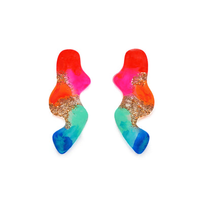 Rainbow Abstract Wavy Squiggle Resin Stud Earrings