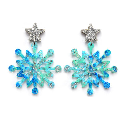 Blue Snowflake Winder Holiday Christmas Resin Acrylic Earrings