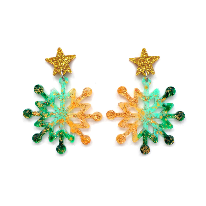 Emerald and Gold Snowflake Winder Holiday Christmas Resin Acrylic Earrings