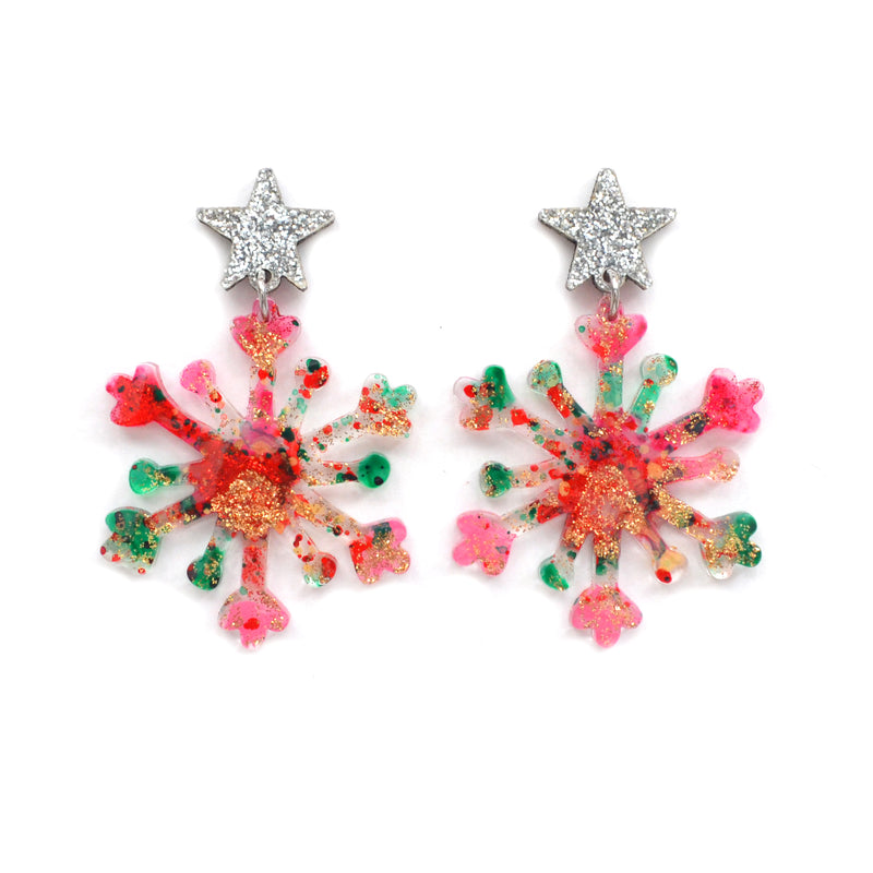 Pink and Red Snowflake Winder Holiday Christmas Resin Acrylic Earrings