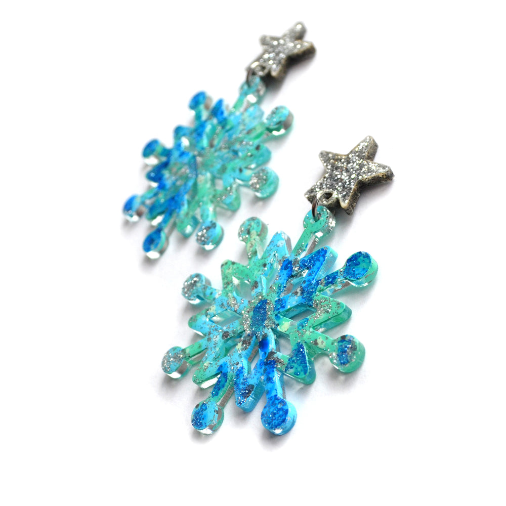 Blue Glitter Resin Snowflake Earrings