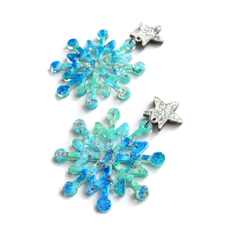 Blue Glitter Resin Snowflake Earrings, Christmas Holiday Jewelry