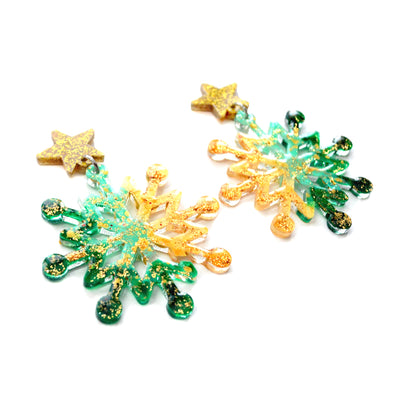 Gold Star and Green Acrylic Snowflake Earrings