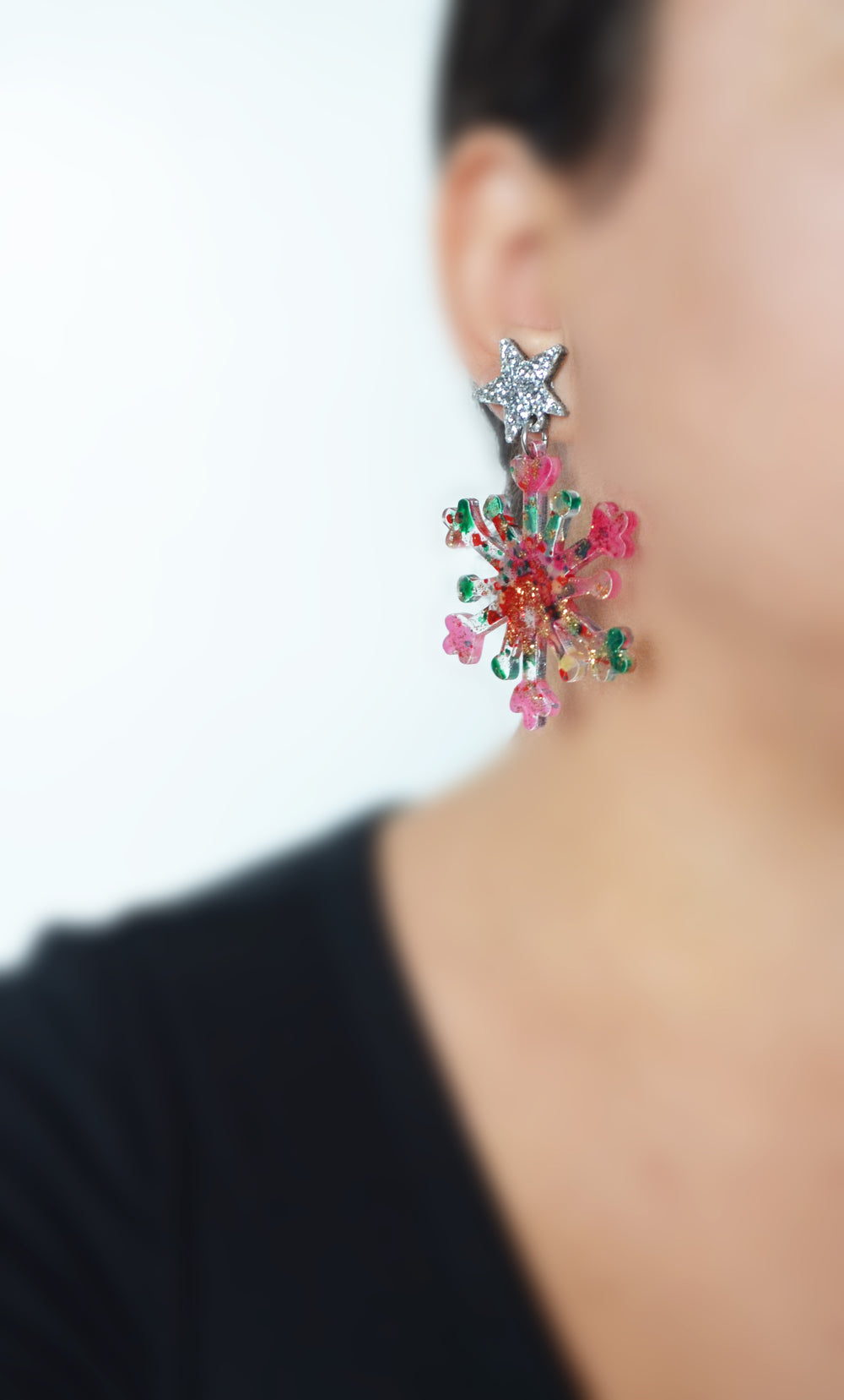 Silver Glitter and Red Snowflake Acrylic Laser Cut Earrings