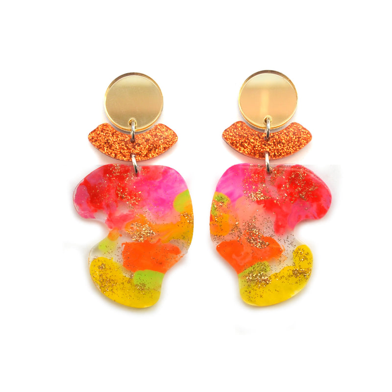 Fruity Wavy Shape Acrylic Laser Cut Earrings