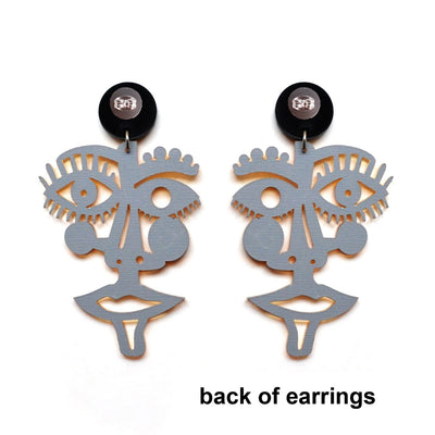 Laser Cut Face Statement Earrings in Silver or Gold Acrylic