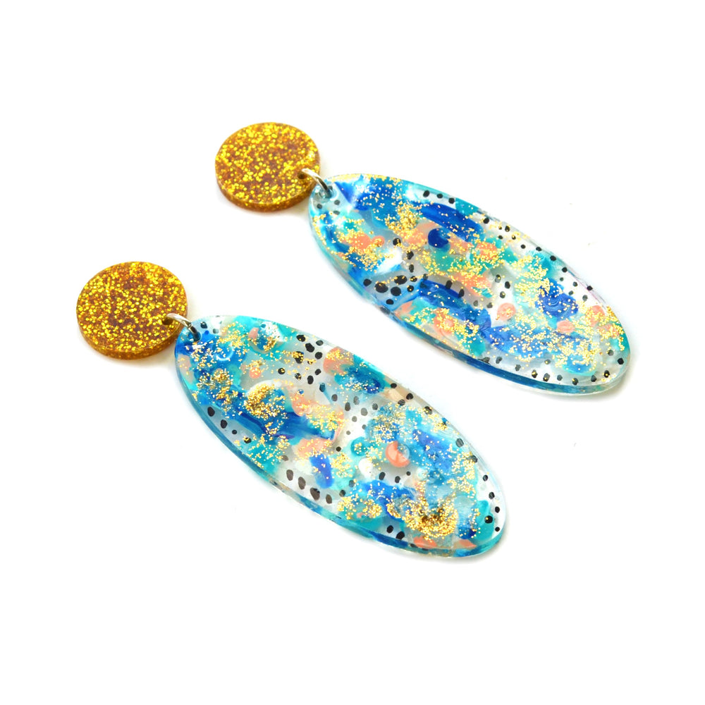 Blue and Gold Dot Patterned Oval Drop Statement Earrings, Resin Acrylic Jewelry