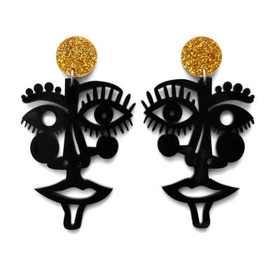 Black or White Laser Cut Face Earrings, Statement Jewelry