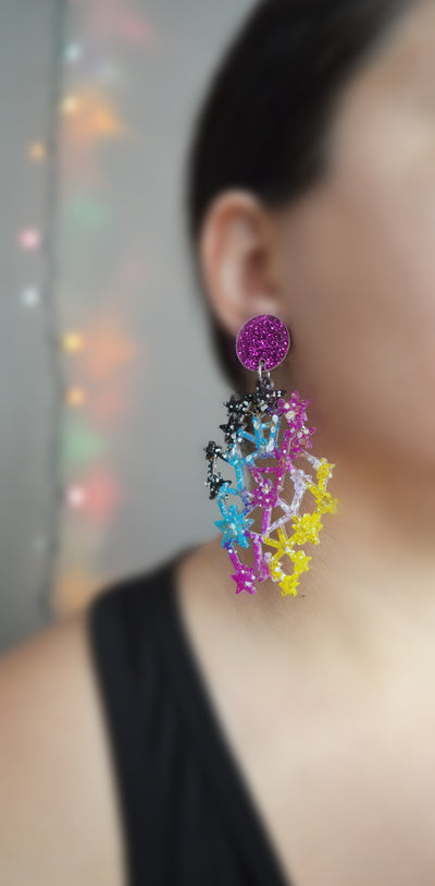 Purple and Turquoise Star Constellation Earrings