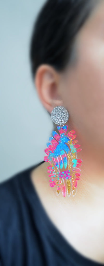 Rainbow Resin Laser Cut Earrings in Hot Pink and Glitter