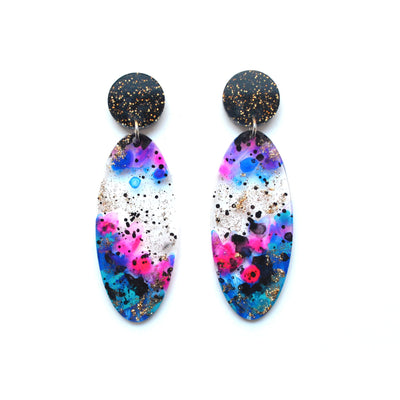 Space Oval Drop Earrings, Laser Cut Abstract Art Statement Jewelry
