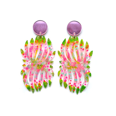 Pink and Green Flower Earrings, Laser Cut Statement Dangles