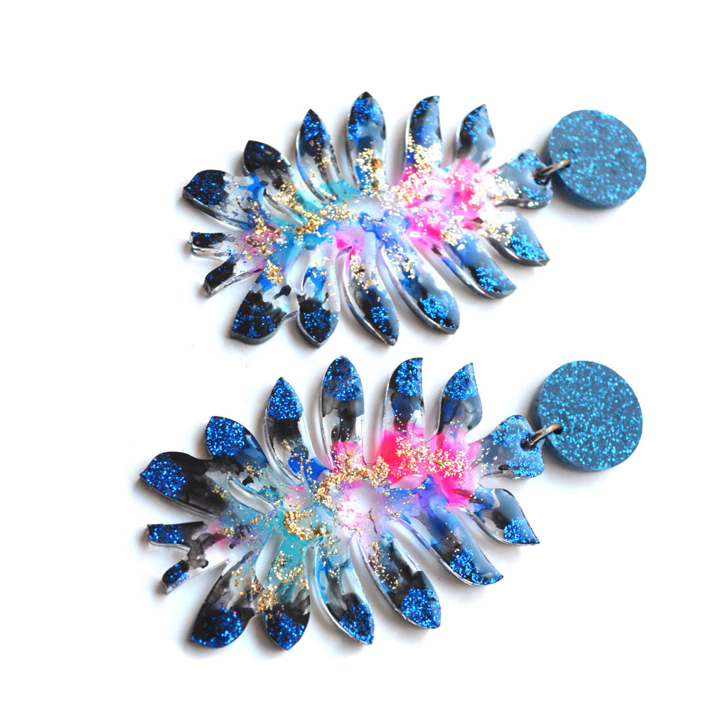 Space Flower Glitter Resin Laser Cut Statement Earrings
