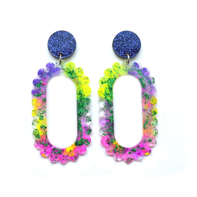 Neon Yellow and Pink Glitter Drop Scalloped Hoop Laser Cut Acrylic Earrings