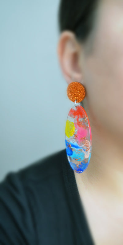 Rainbow Oval Drop Glitter Statement Earrings, Laser Cut Acrylic Earrings