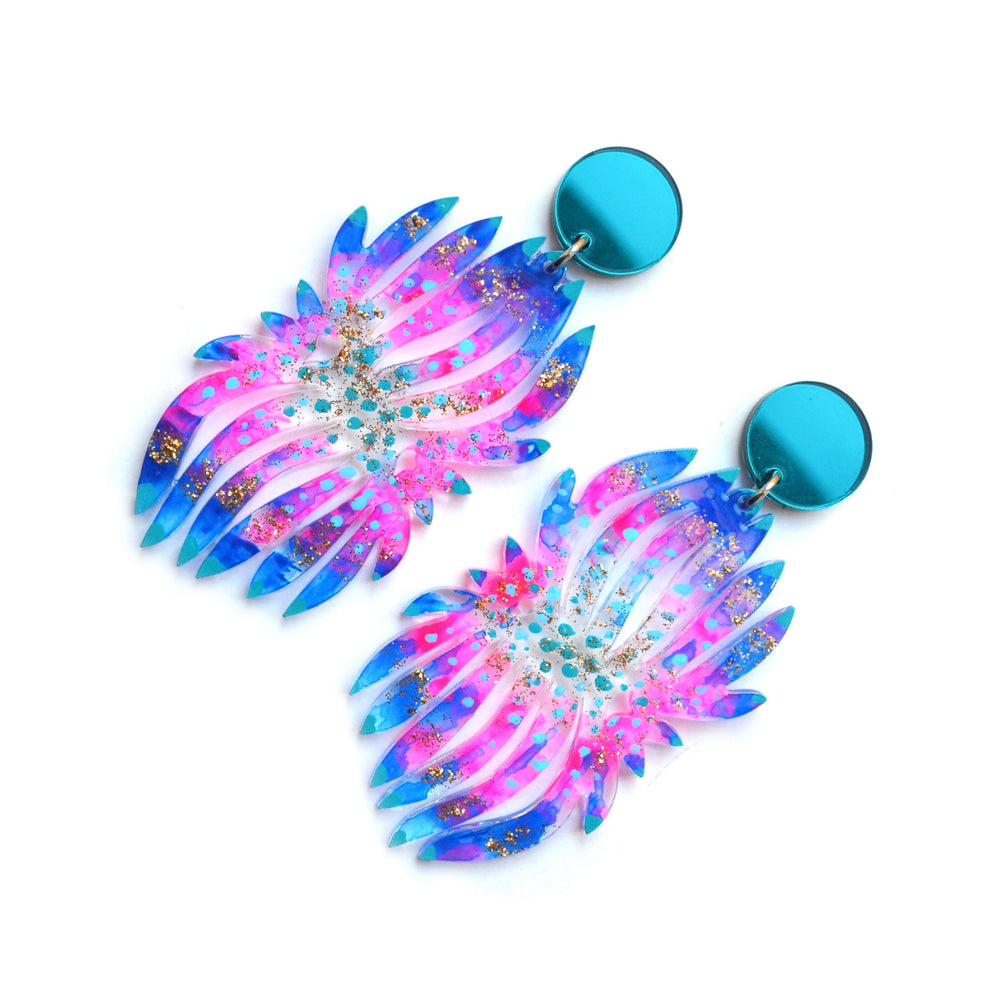 Blue and Hot Pink Flower Statement Acrylic Earrings, Laser Cut Jewelry