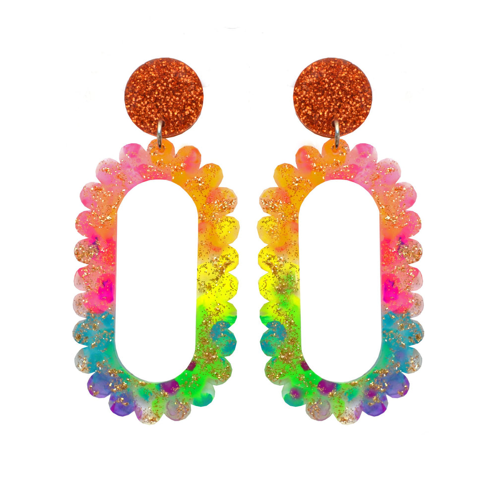 Rainbow Scalloped Acrylic Hoop Earrings