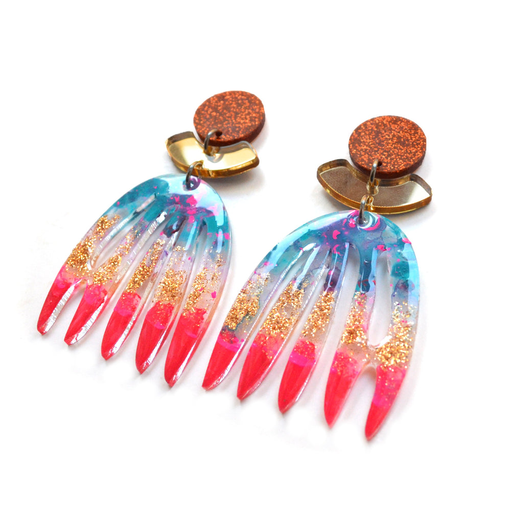 Red Gold and Copper Laser Cut Acrylic Abstract Art Earrings