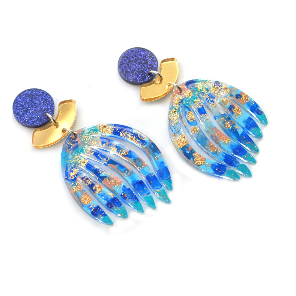 Laser Cut Blue Abstract Art Acrylic Glitter Leaf Plant Earrings with Gold
