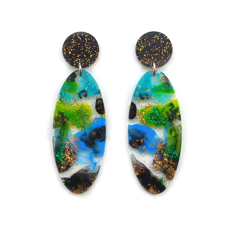 Green Blue and Black with Gold Glitter Abstract Art Oval Acrylic Earrings