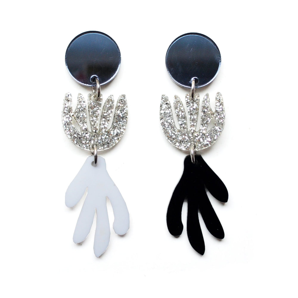 Black and White Acrylic Laser Cut Mis Matched Matisse Earrings