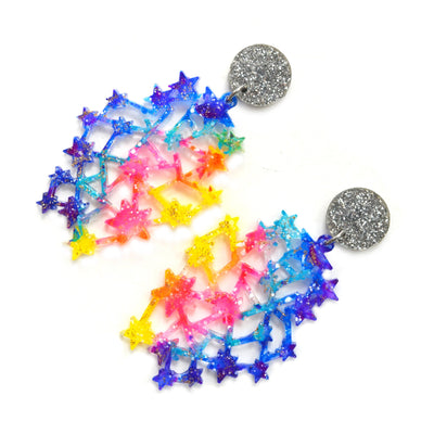 Rainbow Constellation Space Galaxy Glitter Resin Earrings