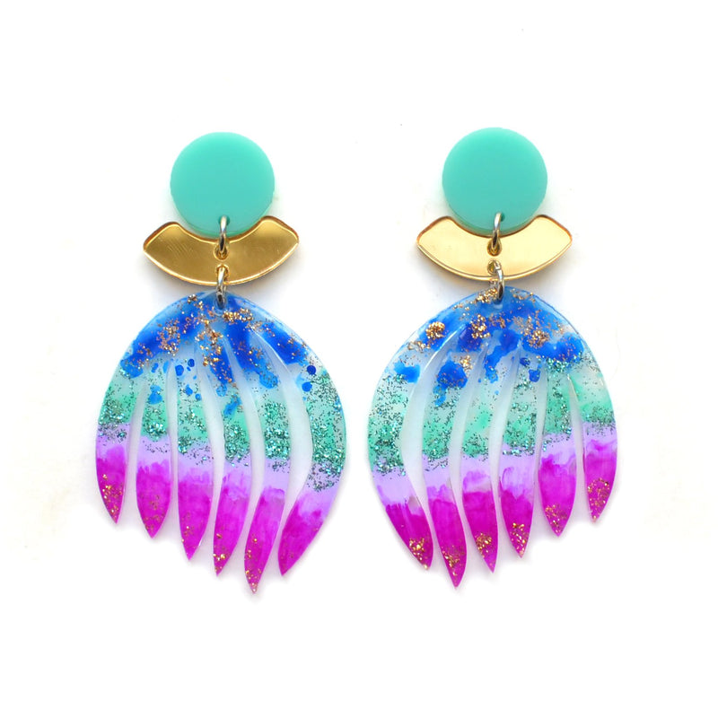Purple and Blue Ombre Palm Leaf Statement Earrings