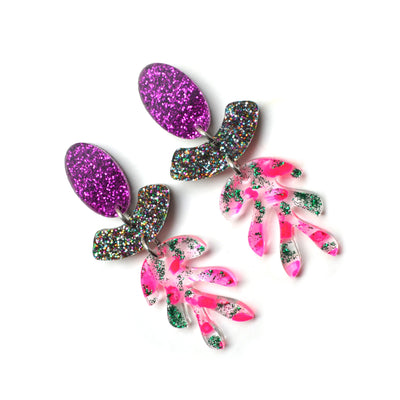 Neon Pink Glitter Leaf Statement Earrings, Laser Cut Resin Jewelry