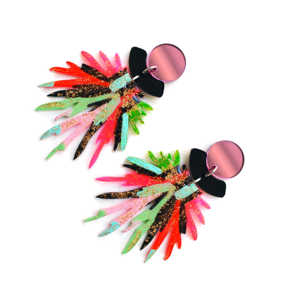 Pink and Red Pom Pom Acrylic Resin Earrings