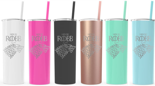 9c64c4471b2 Game of Thrones Inspired-Personalized Insulated 20 oz skinny Tumbler-Made  to Order-