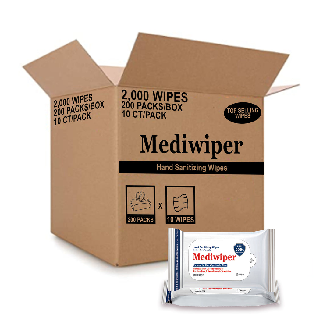 Mediwiper Alcohol Free Hand Sanitizing Wipes 10 Wet Wipes | Bulk Offer: 200 pks of 10 wipes in 1 box