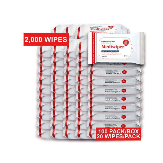 Mediwiper Alcohol Free Hand Sanitizing Wipes 20 Wet Wipes | Bulk Offer