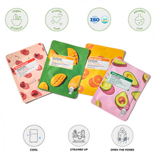 Load image into Gallery viewer, Pick Up & Go Fruity Facial Sheet Mask | Orange -Moisturizing | 5ct (4pk)
