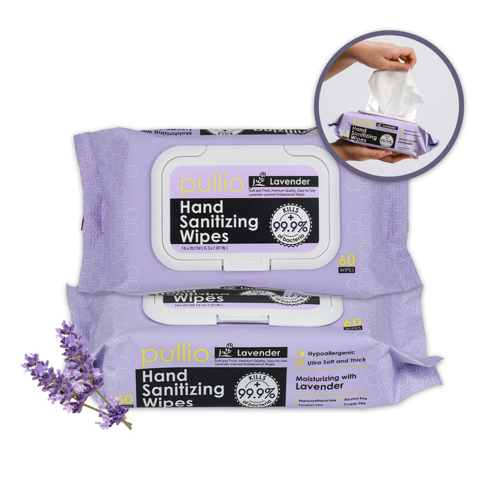 Pullio Lavender Hand Sanitizer Wipes (60ct) - Alcohol Free Formula