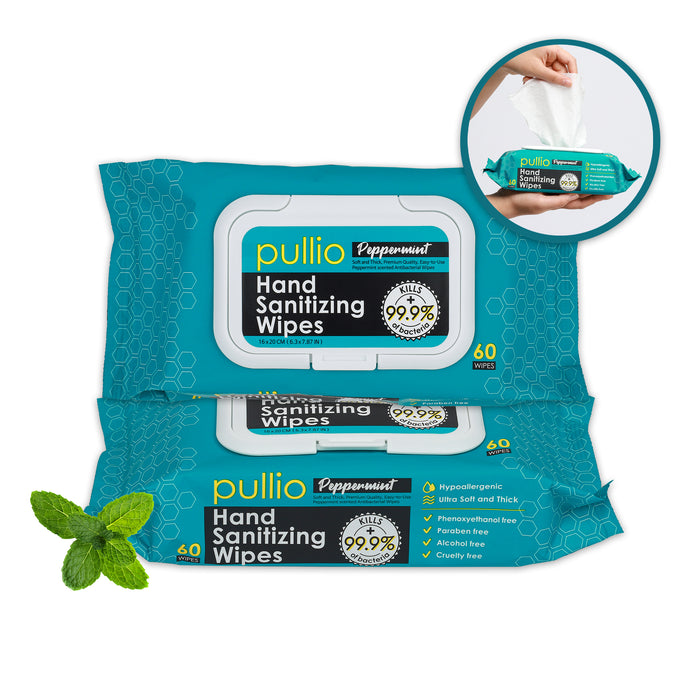 pullio Peppermint Hand Sanitizer Wet Wipes (60ct)