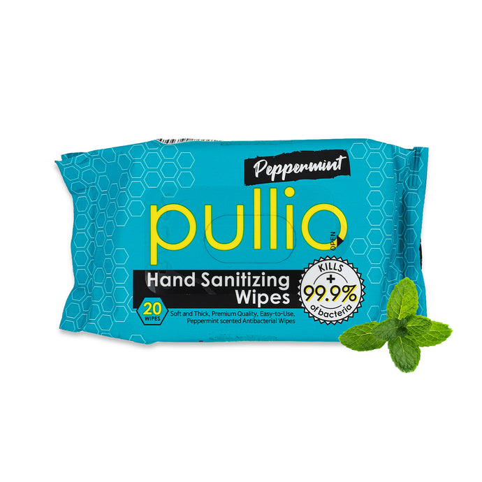 Pullio Peppermint Hand Sanitizer Wet Wipes (20ct)