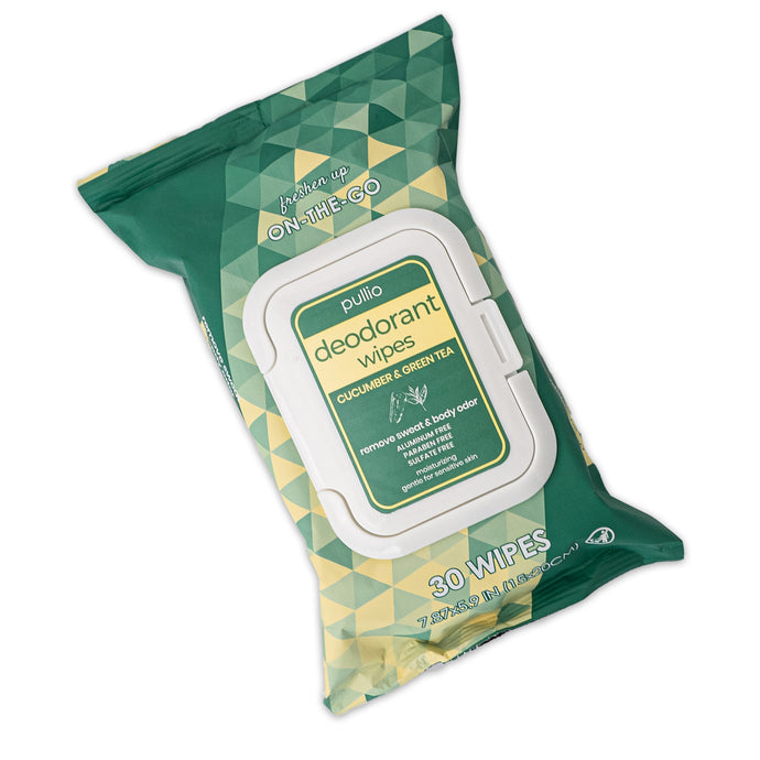 Pullio Deodorant Wipes (30ct) | Cucumber & Green Tea | Clean Beauty Travel Size Wipes