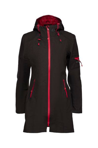 Fitted Soft Shell Raincoat with Contrast Zipper