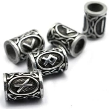 24pcs Original Viking Runes - 24pcs Antique Silver - Viking beard rings hair braids