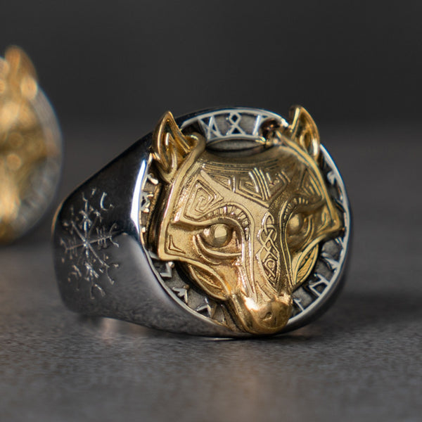 Gold Wolf Viking Ring