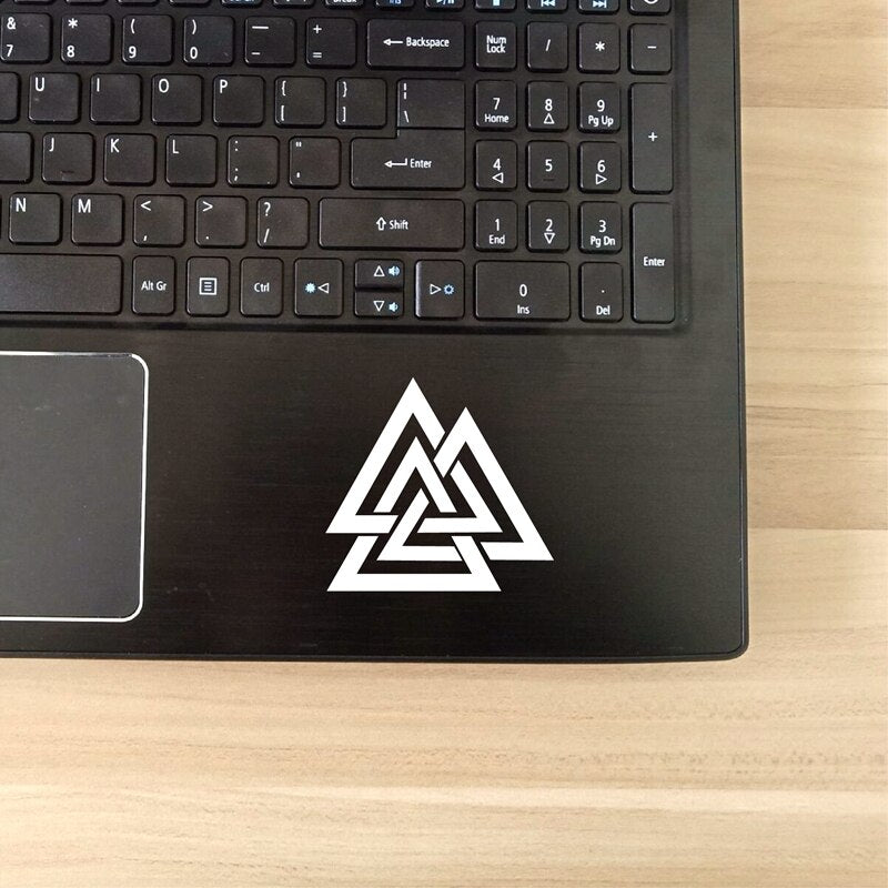 white valknut sticker laptop