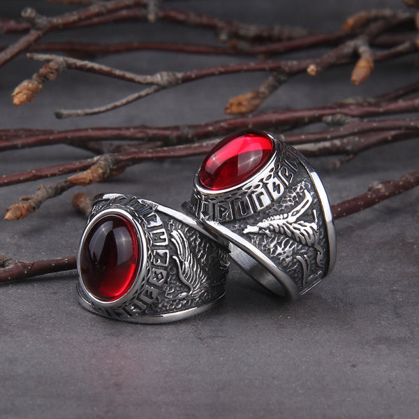 Red Stone (Viking Raven Ring)