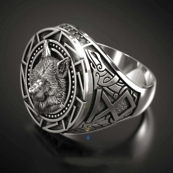 Viking Wolf Symbols Ring