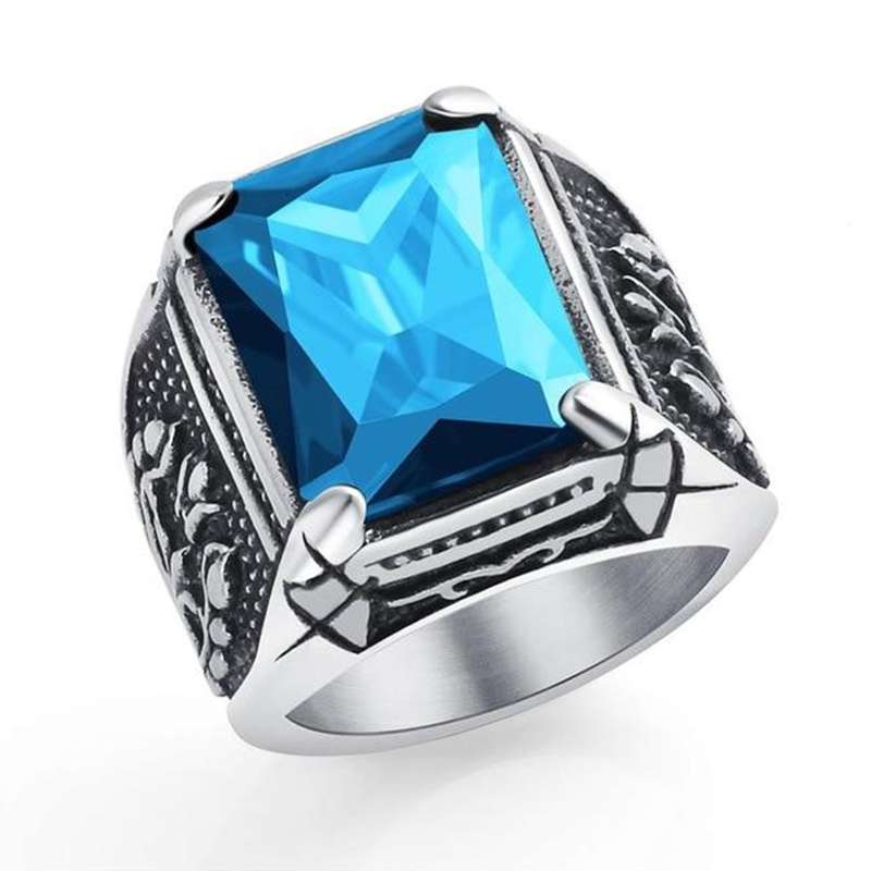 blue titanium viking ring