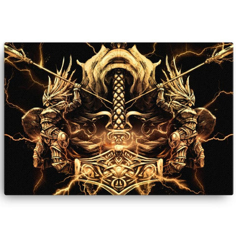 Golden Thors Hammer (Viking Canvas)