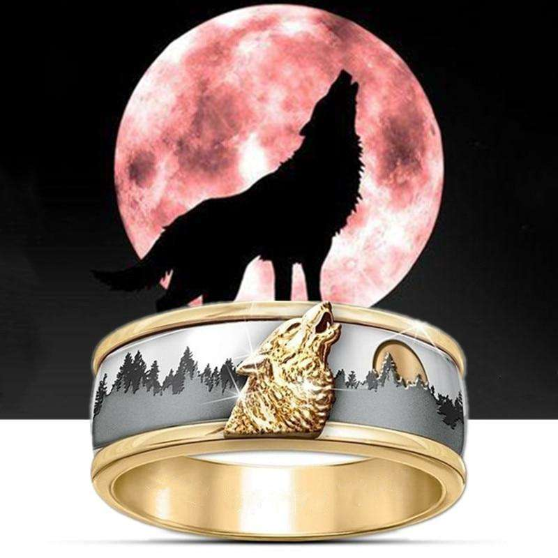 gold viking ring wolf