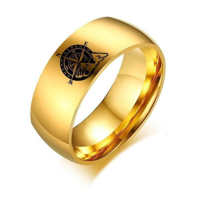 North Star Compass Ring - 5 / gold color - 100007323