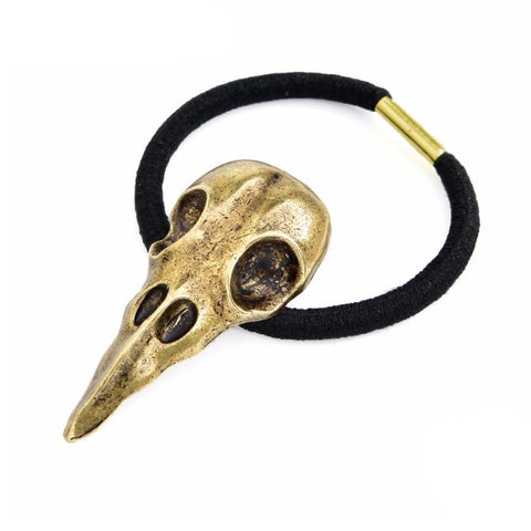 Raven skull Viking hair elastic - Headbands - Ancient bronze - viking brooches