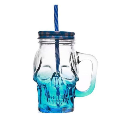 SKULL GLASS 3.0 - Blue / 450ML(Fulled) - skull glass