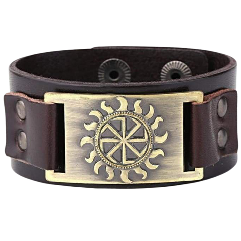 VIKING BRACELET SYMBOL OF SUN - viking leather cuff